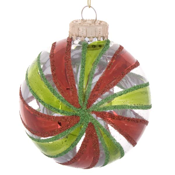 Krebs Box Of Clear Glass Baubles With Red & Green Stripe Decoration - 4 x 60mm (021-16968-ST)