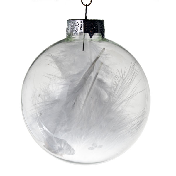Clear Glass White Feathers Baubles - 4 x 70mm
