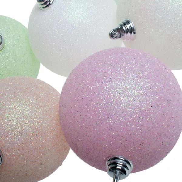 Gisela Graham Pastel Glitter Balls - 6 x 80mm