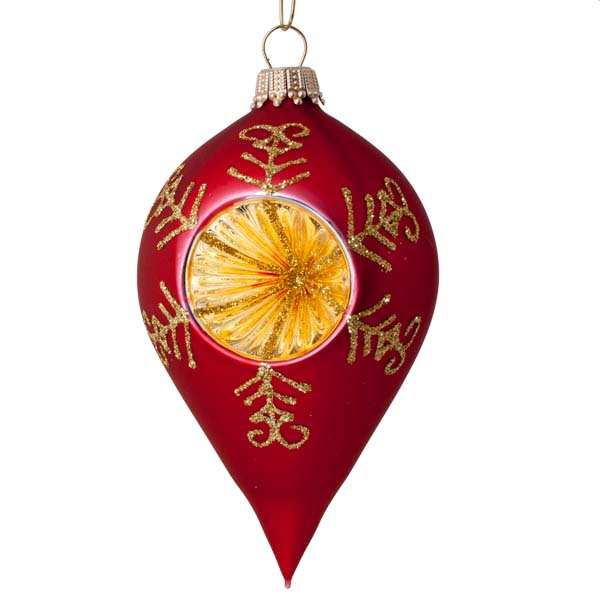 Krebs Red Amp Gold Reflector Glass Baubles 4 X 100mm