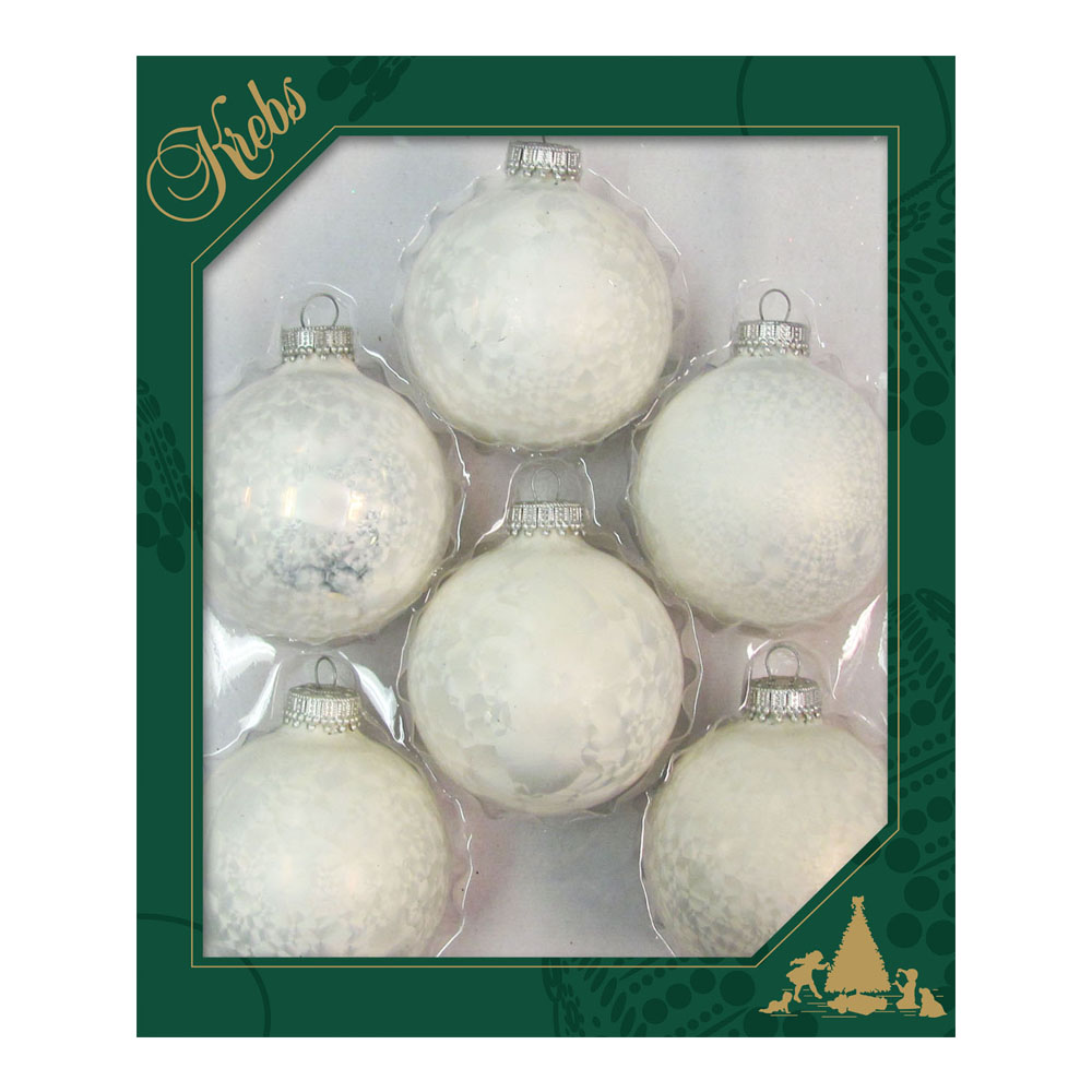 Krebs Glass Pearl Icelock Baubles - 6 x 67mm