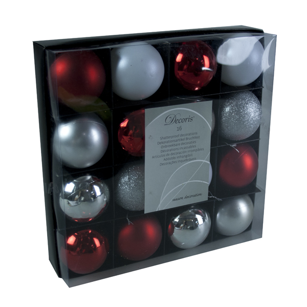 Christmas Chic Shatterproof Baubles - 16 x 60mm
