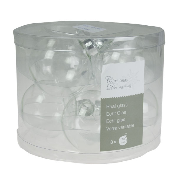 Clear Glass Baubles - 8 X 70mm