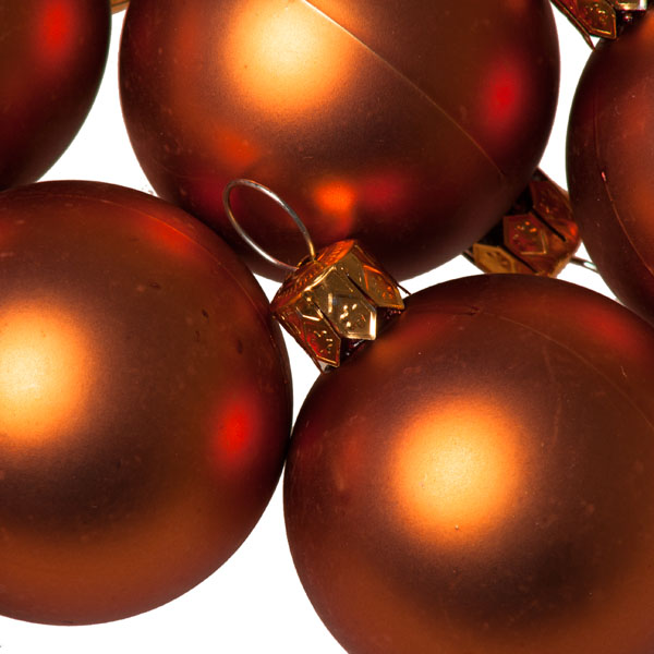 Luxury Copper Orange Satin Finish Shatterproof Baubles - Pack of 18 x 40mm