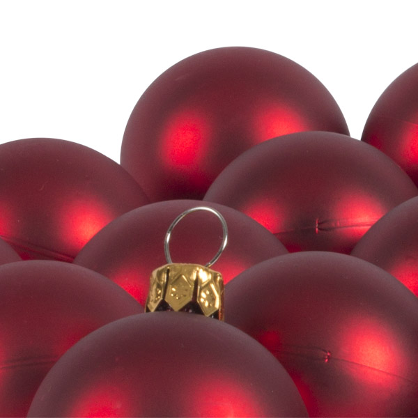 Luxury Red Satin Finish Shatterproof Baubles - Pack of 18 x 40mm