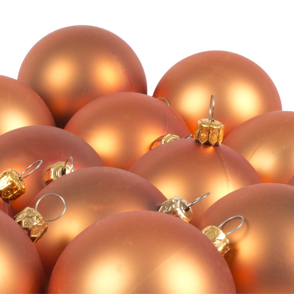 Luxury Copper Orange Satin Finish Shatterproof Baubles - Pack of 18 x 60mm