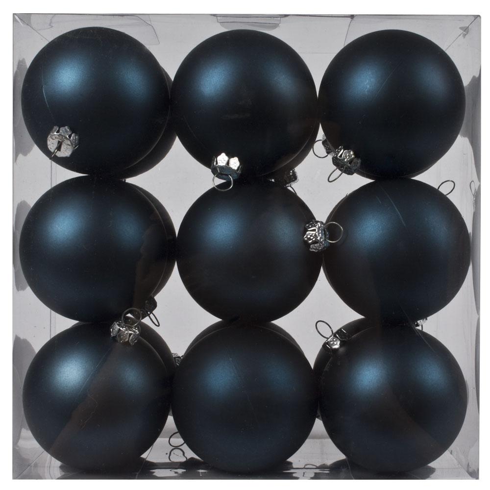 Luxury Dark Blue Satin Finish Shatterproof Baubles - Pack of 18 x 60mm