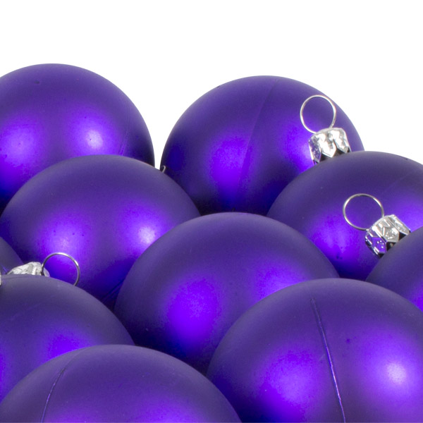 Luxury Purple Satin Finish Shatterproof Baubles - Pack of 18 x 60mm