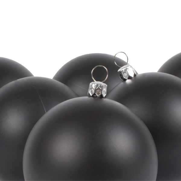 Luxury Black Satin Finish Shatterproof Baubles - Pack of 6 x 80mm
