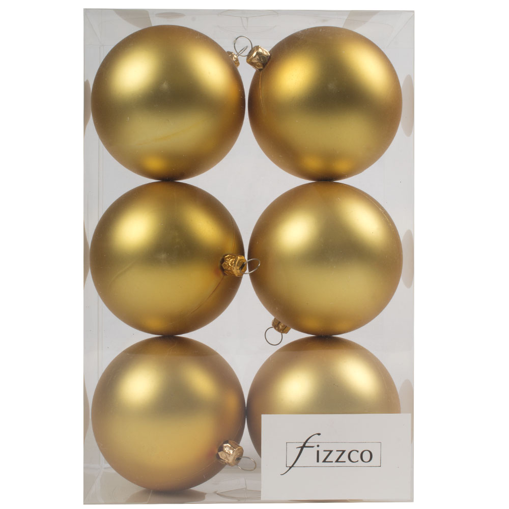 Luxury Gold Satin Finish Shatterproof Baubles - Pack of 6 x 80mm
