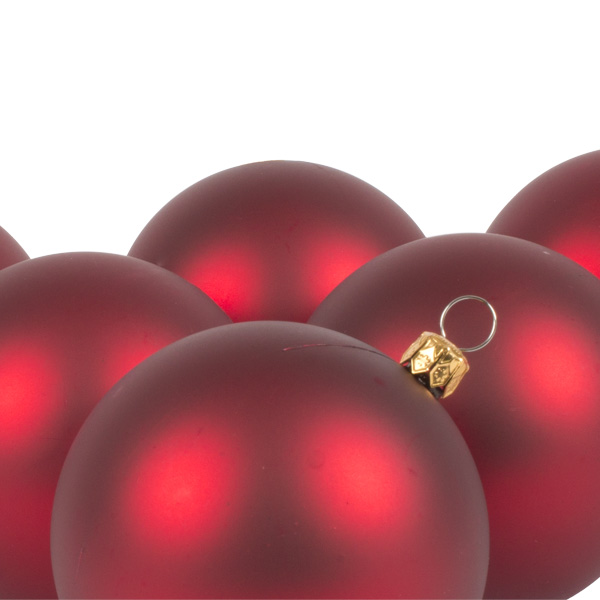 Luxury Red Satin Finish Shatterproof Baubles - Pack of 6 x 80mm