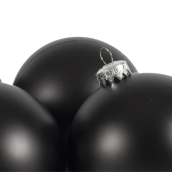 Luxury Black Satin Finish Shatterproof Baubles - Pack of 4 x 100mm