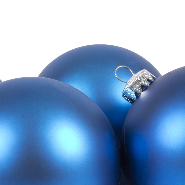 Luxury Electric Blue Satin Finish Shatterproof Baubles - Pack of 4 x 100mm
