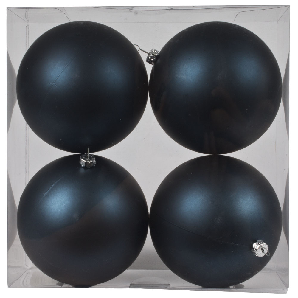 Luxury Dark Blue Satin Finish Shatterproof Baubles - Pack of 4 x 100mm