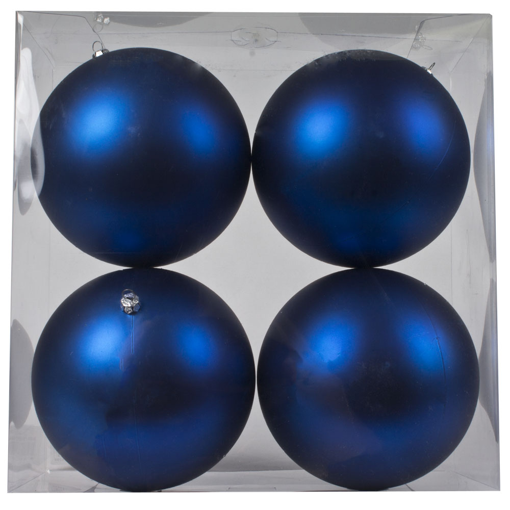 Luxury Electric Blue Satin Finish Shatterproof Baubles - Pack 4 x 140mm