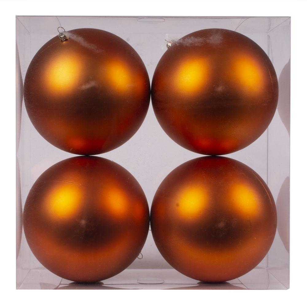 Luxury Copper Orange Satin Finish Shatterproof Baubles - Pack 4 x 140mm