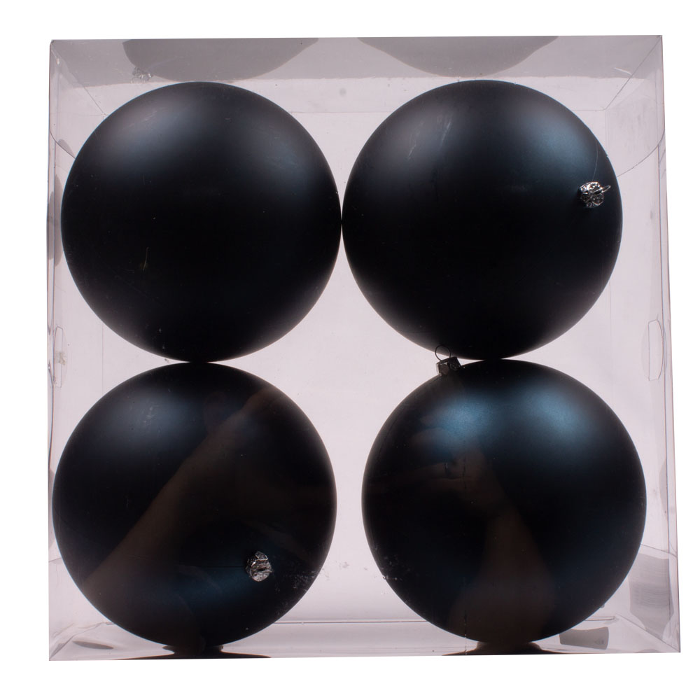 Luxury Dark Blue Satin Finish Shatterproof Baubles - Pack 4 x 140mm