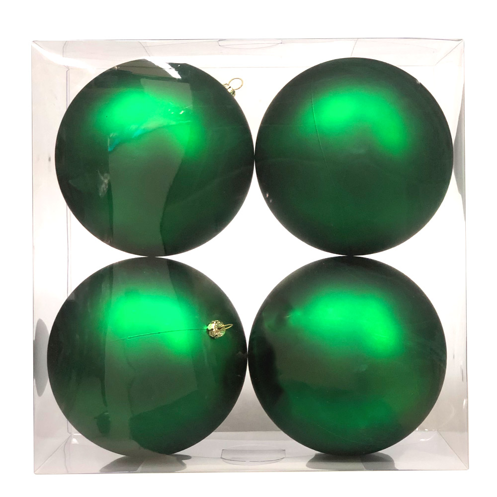 Luxury Green Satin Finish Shatterproof Baubles - Pack 4 x 140mm