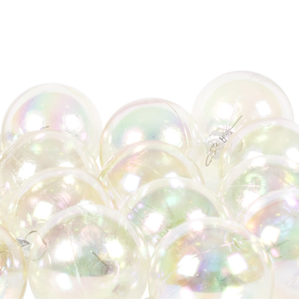 Luxury Clear Iridescent Shiny Finish Shatterproof Bauble Range - Pack of 18 x 40mm