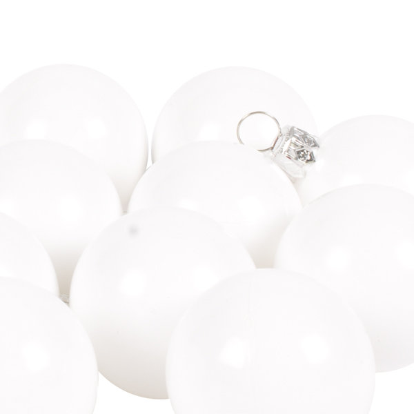 Luxury White Shiny Finish Shatterproof Bauble Range - Pack of 18 x 40mm