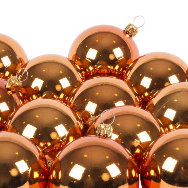Luxury Copper Orange Shiny Finish Shatterproof Bauble Range - Pack of 18 x 60mm