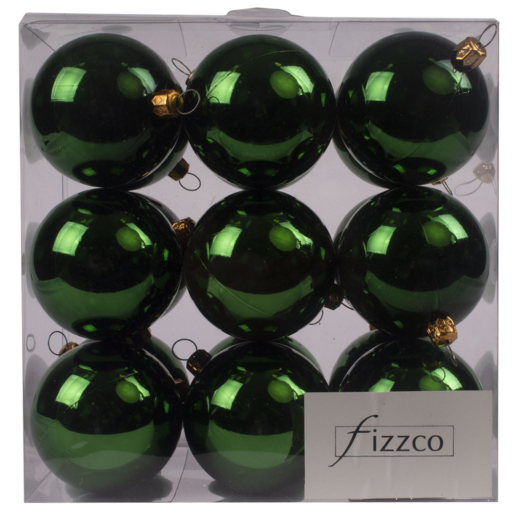 Luxury Green Shiny Finish Shatterproof Bauble Range - Pack of 18 x 60mm