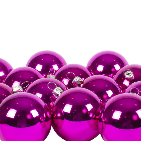 Luxury Cerise Pink Shiny Finish Shatterproof Bauble Range - Pack of 18 x 60mm
