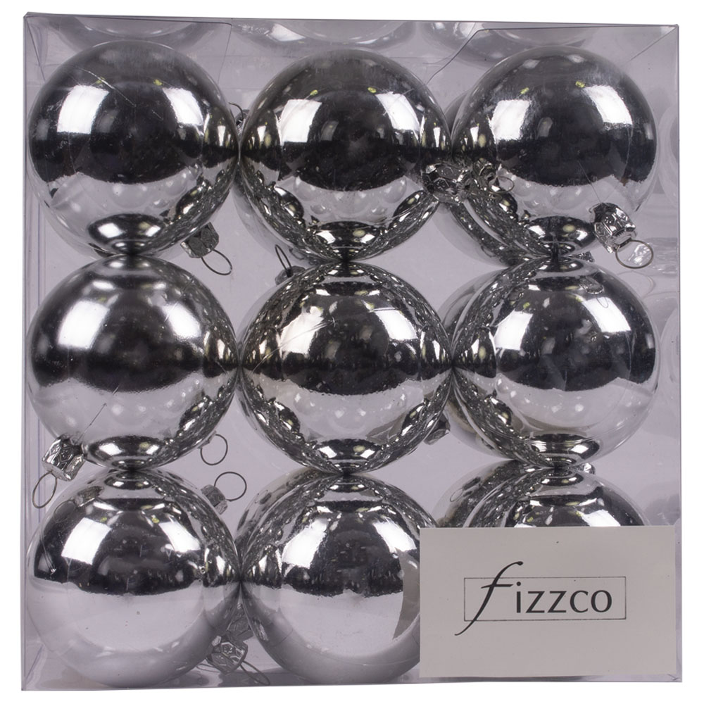 Luxury Silver Shiny Finish Shatterproof Bauble Range - Pack of 18 x 60mm