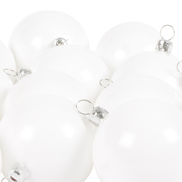 Luxury White Shiny Finish Shatterproof Bauble Range - Pack of 18 x 60mm