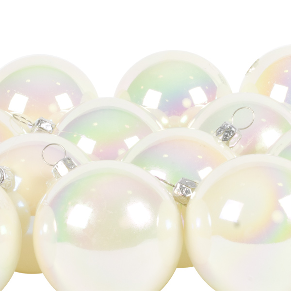 Luxury White Iridescent Shiny Finish Shatterproof Bauble Range - Pack of 18 x 60mm