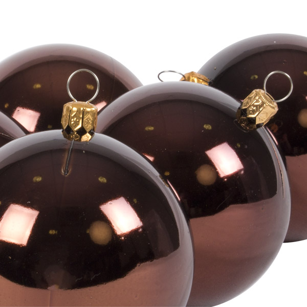 Luxury Brown Shiny Finish Shatterproof Bauble Range - Pack of 6 x 80mm