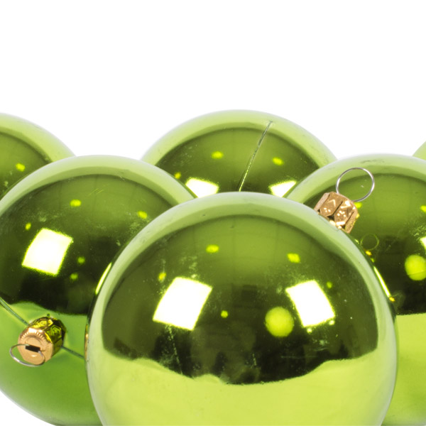 Luxury Lime Green Shiny Finish Shatterproof Bauble Range - Pack of 6 x 80mm