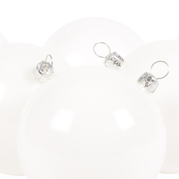 Luxury White Shiny Finish Shatterproof Bauble Range - Pack of 6 x 80mm