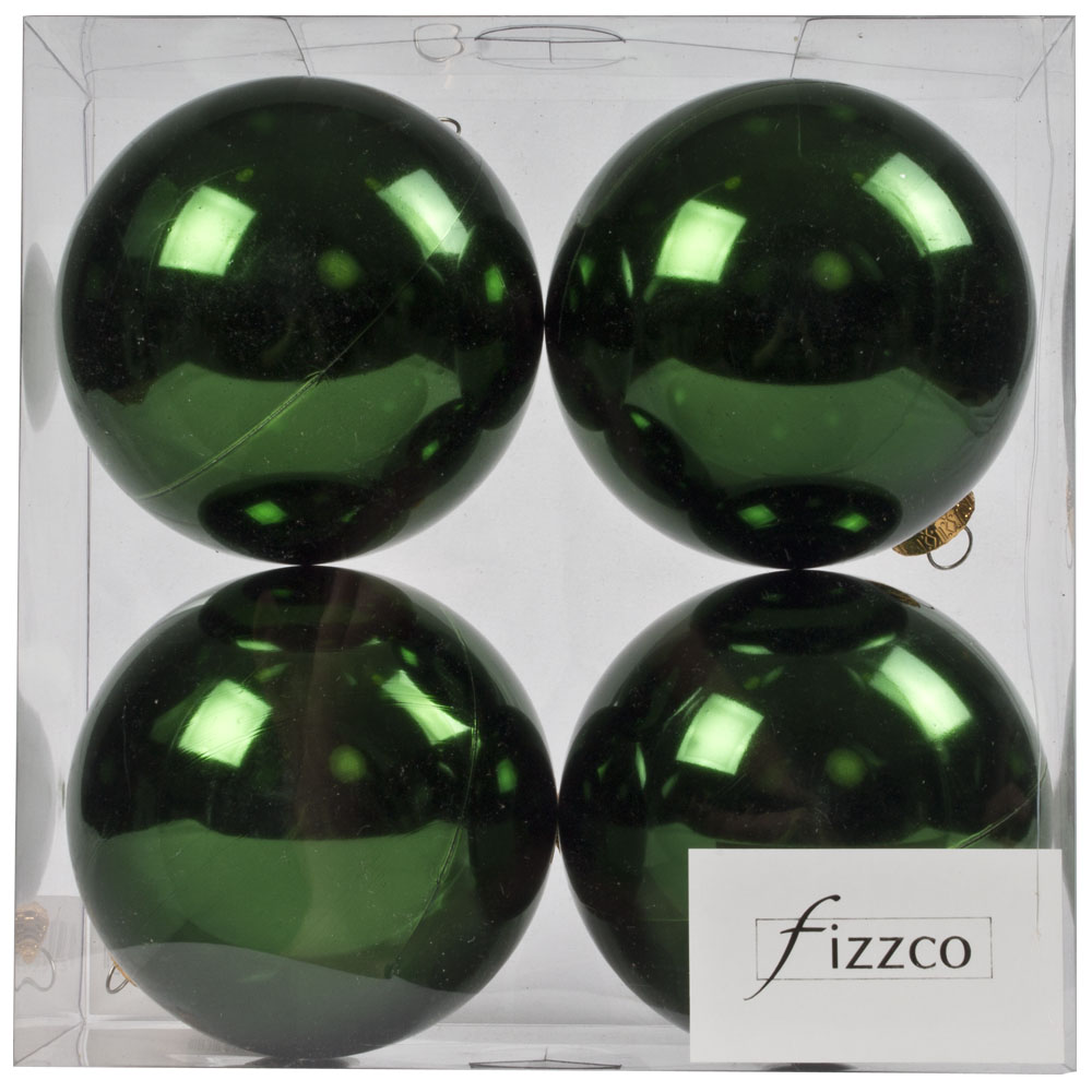 Luxury Green Shiny Finish Shatterproof Bauble Range - Pack of 4 x 100mm