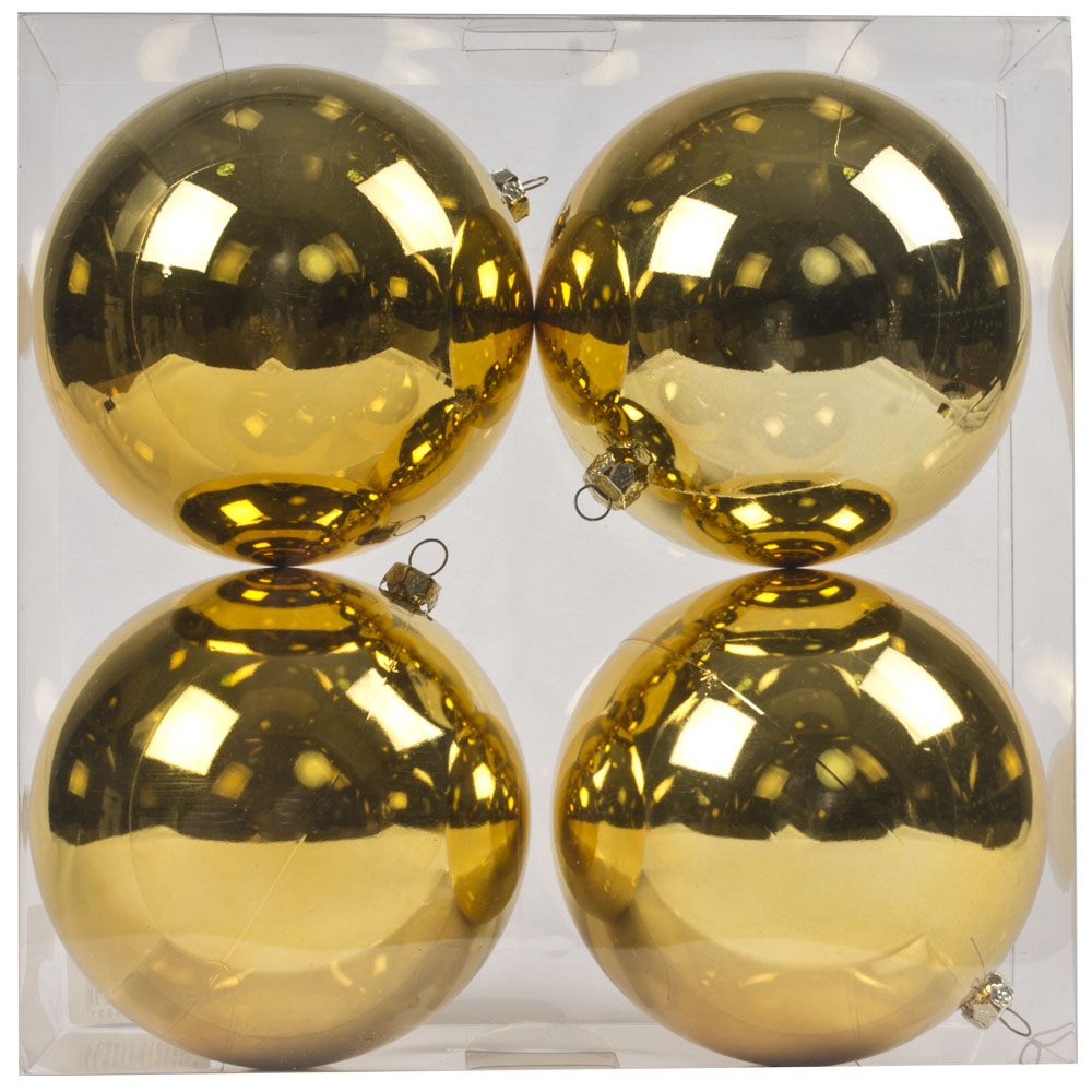 Luxury Pale Gold Shiny Finish Shatterproof Bauble Range - Pack of 4 x 100mm