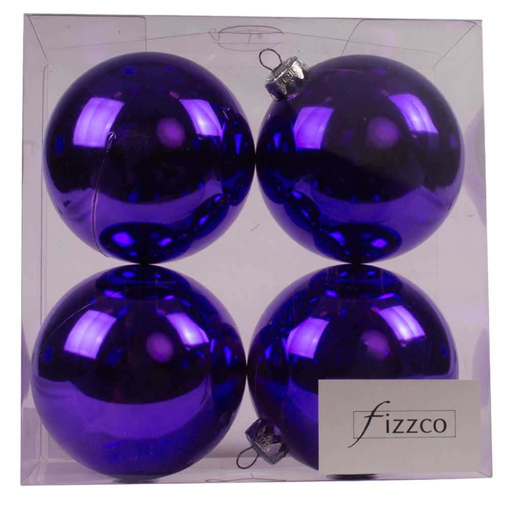 Luxury Purple Shiny Finish Shatterproof Bauble Range - Pack of 4 x 100mm