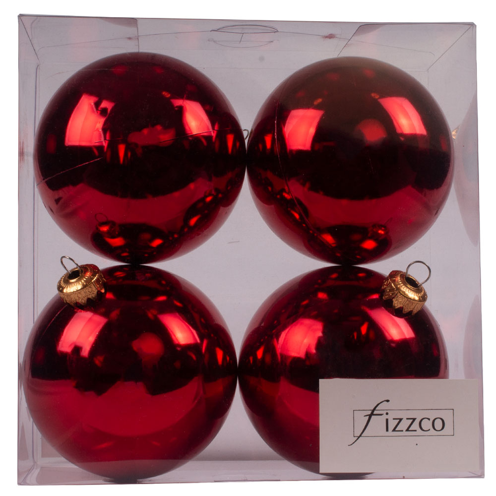 Luxury Red Shiny Finish Shatterproof Bauble Range - Pack of 4 x 100mm