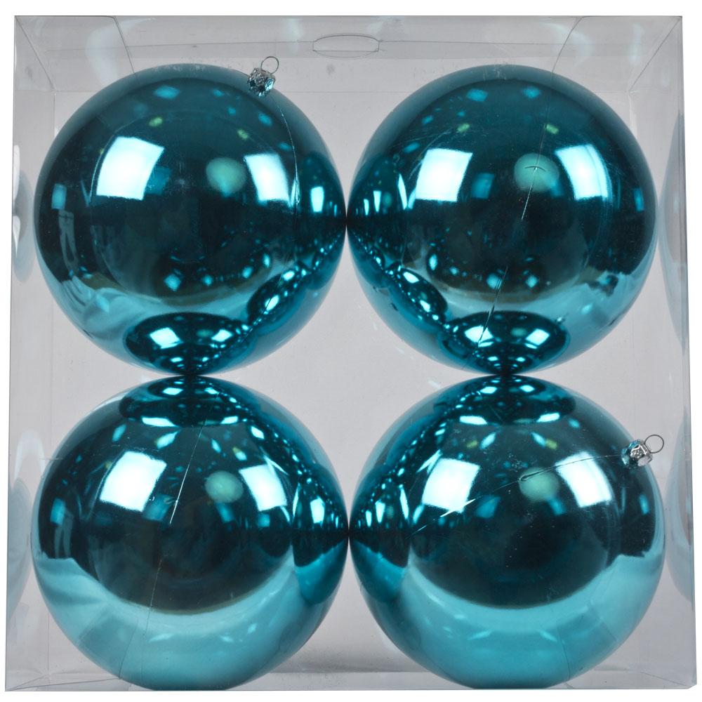 Luxury Aqua Turquoise Shiny Finish Shatterproof Bauble Range - Pack of 4 x 140mm