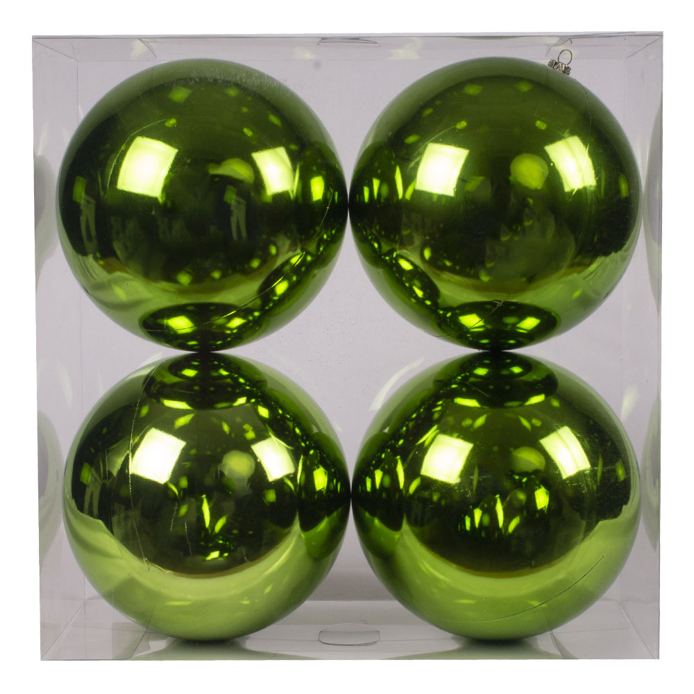 Luxury Lime Green Shiny Finish Shatterproof Bauble Range - Pack of 4 x 140mm