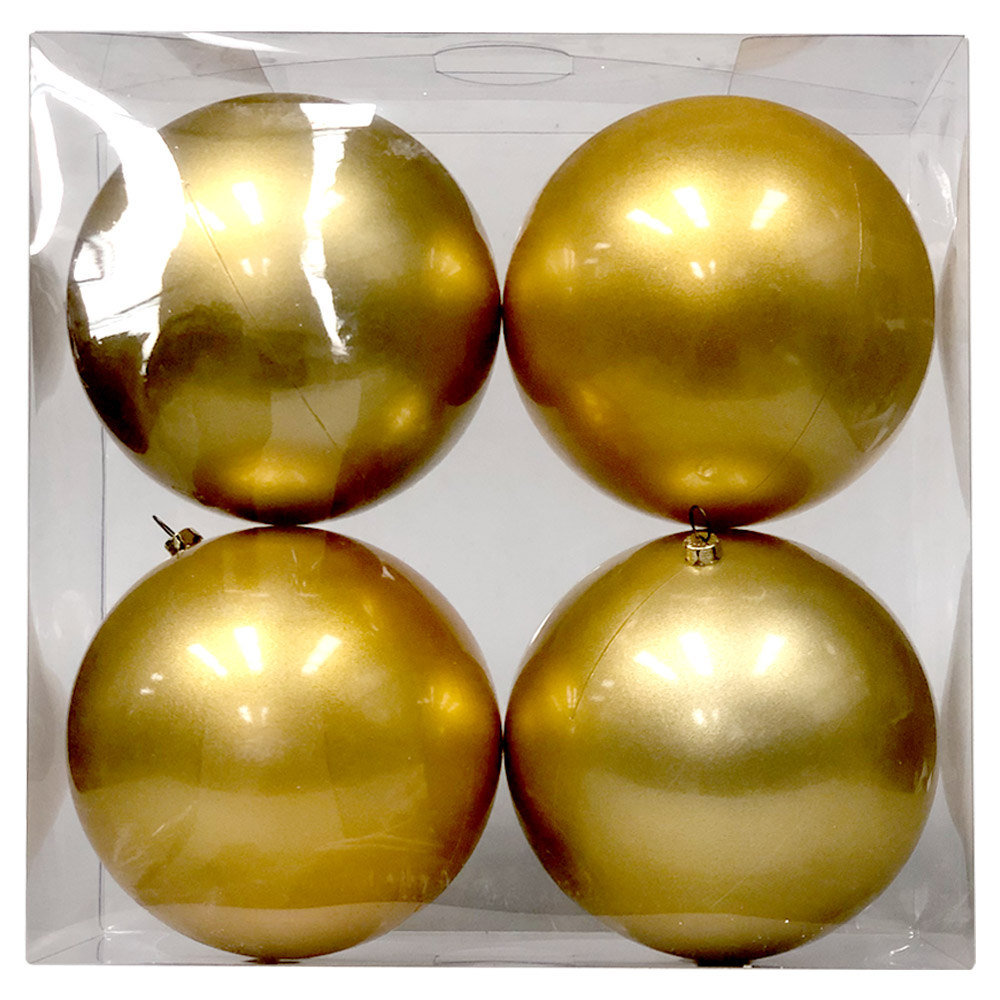 Luxury Metallic Gold Shiny Finish Shatterproof Bauble Range - Pack of 4 x 140mm