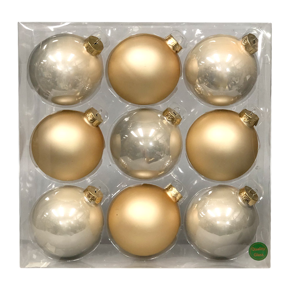 Autumn Blonde Matt & Shiny Glass Baubles - 9 x 100mm