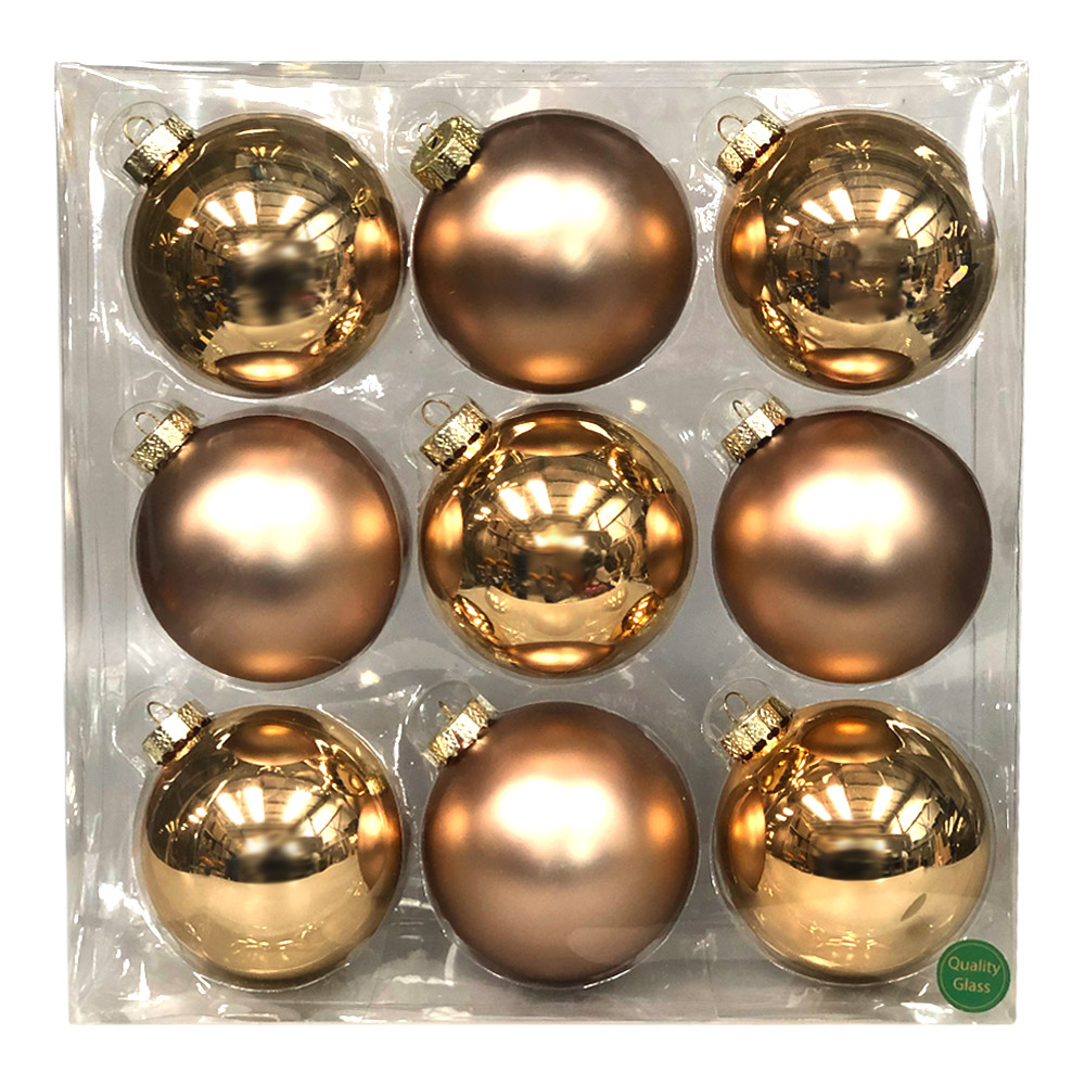 Champagne Gold Matt & Shiny Glass Baubles - 9 x 100mm