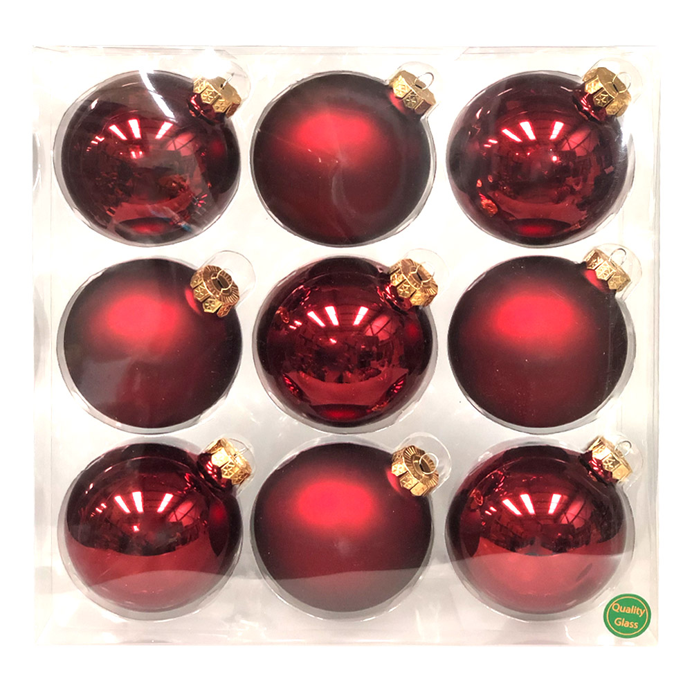Dark Red Matt & Shiny Glass Baubles - 9 x 100mm
