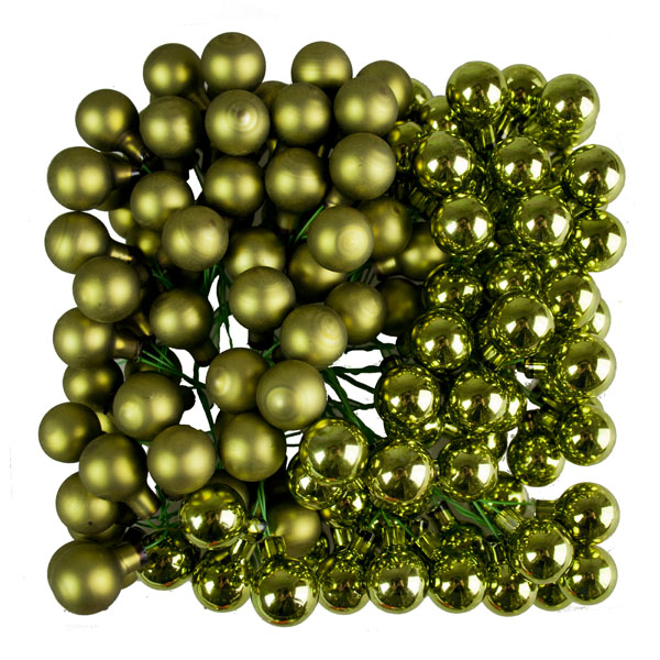 Green Matt & Shiny Glass Baubles - 144 x 20mm