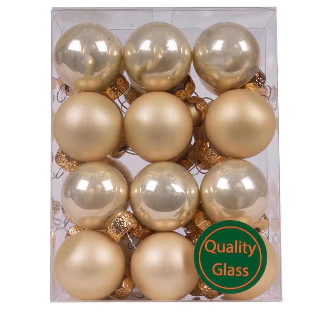 Champagne Gold Matt & Shiny Glass Baubles - 24 x 25mm