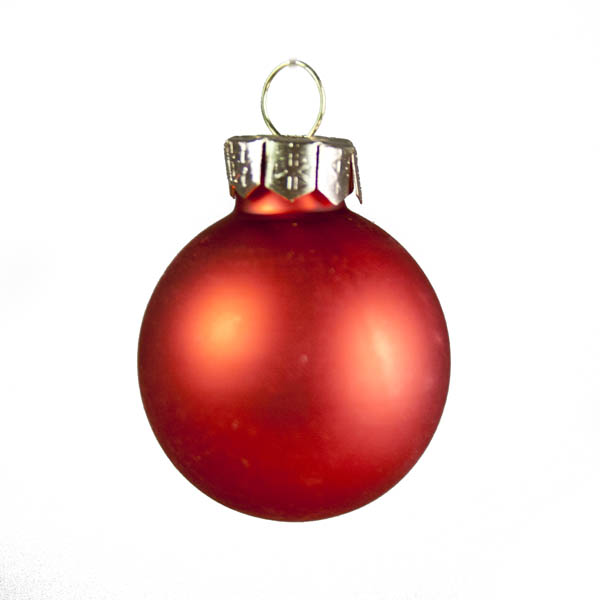 Orange Matt & Shiny Glass Baubles - 36 x 30mm