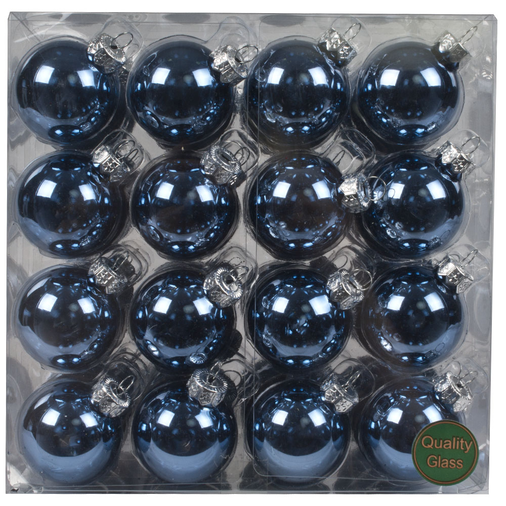 Blue Matt & Shiny Glass Baubles - 64 x 40mm