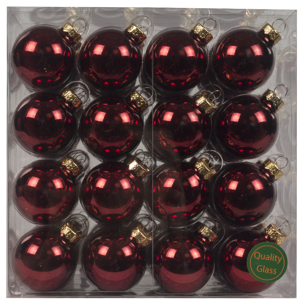Dark Red Matt & Shiny Glass Baubles - 64 x 40mm