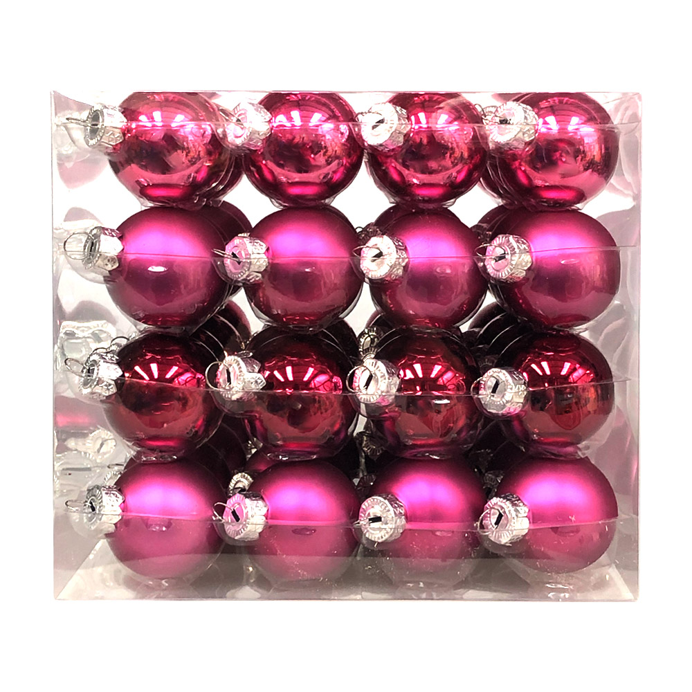 Heather Pink Matt & Shiny Glass Baubles - 64 x 40mm