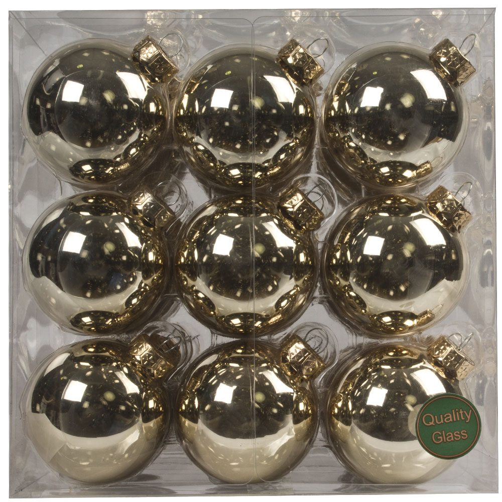 Autumn Blonde Matt & Shiny Glass Baubles - 36 x 57mm
